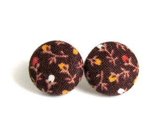 Brown button earrings  - fabric earrings - stud earrings vintage style flower - gift for girlfrind - stocking stuffer