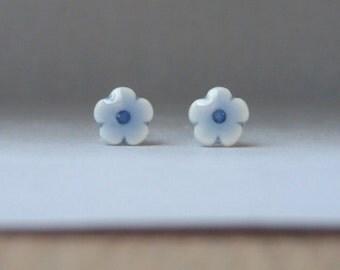 Mini porcelain flower stud earrings handmade pale baby blue glazed English porcelain