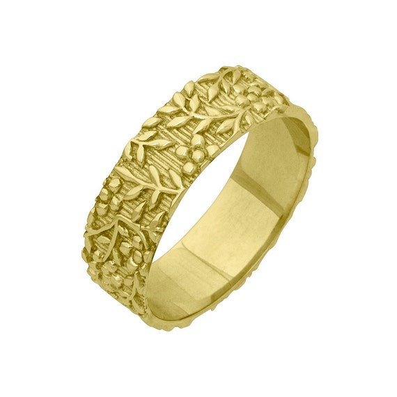 Vintage Floral Foliage 6mm Wide Wedding Band Ring In Yellow