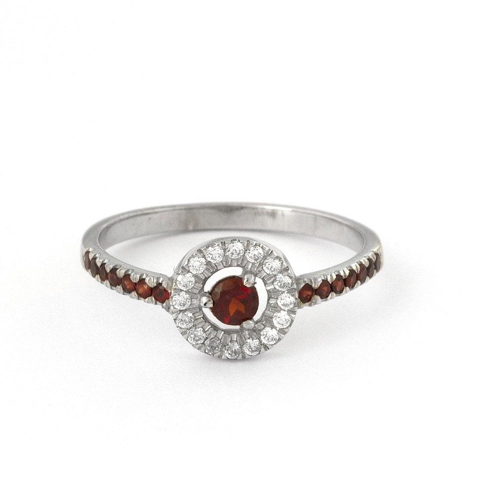 antique garnet engagement ring in 14k white gold