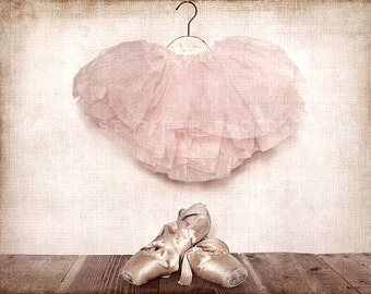 Vintage Ballet Slippers and Tutu Photo Print, Girls Room Decor, Girls Nursery, Wall Art, Art decor, Girls room Ideas,