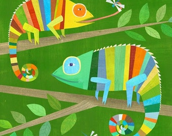 Colorful Chameleons, Canvas Art Print, Kids Room Decor