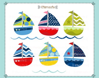 50%SALE, Boat clip art, cute sailboat clip art, kids birthday clip art, babys invites ,instant download clip art.