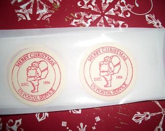 Christmas Stickers - Envelope Seals - Santa Postal Mark - Set of Twelve