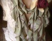 Upcycled T-Shirt Scarf  - Sage Green w/Eggplant Purple Felt Rose - Ruffled Style