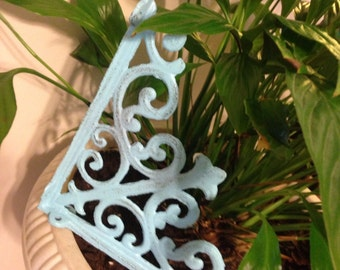 Wall Brackets, Cast Iron - Set of 2, Aqua Brackets