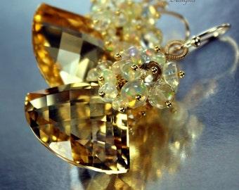 Sunbeams ~ Light Yellow Citrine, Ethiopian Opals, Gold Earrings