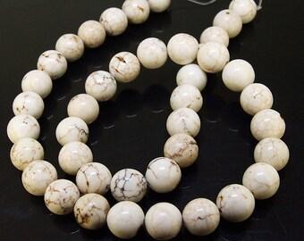 Charm 10MM Round White Howlite Turquoise Gemstone Beads One Strand , White turquoise,Round Turquoise, Turquoise Strand , Full One Strand