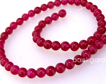"Charm Candy 6mm Round Roseo Jade  Gemstone Beads Round  Jade Beads Full Strand 15"" in length"