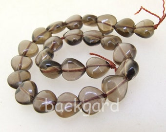 25pcs Charm Heart  10mm Smoky Crystal Quartz  Gemstone Beads 9.5""