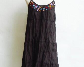 D4, Little Cute Flower Garden Cotton Dark Brown Dress