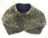 SALE! Vintage 1930s Grey Curly Persian Lamb Collar Muff Neck Warmer w/Button