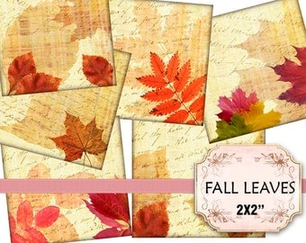 Fall leaves romantic collection Autumn pedant size 2x2 inches  (372) Buy 3 - get 1 free