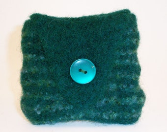 Felted coin purse, hand knitted, green stripes, lined, button fastening - NEW LOW PRICE