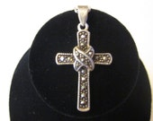 Vintage STERLING SILVER & MARCASITE Cross on a Sterling Chain