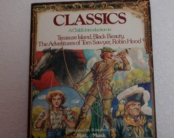 Childrens book: Classics, A Childs Introduction to Treasure Island, Black Beauty, Tom Sawyer and Robin Hood, 1977