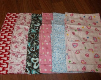 Baby Wipes 24 In Girl Colors 100% cotton flannel 2 layers