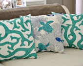 Beach House Decor Coral Reef 18x18 Throw Pillow - PICK FABRIC COLOR