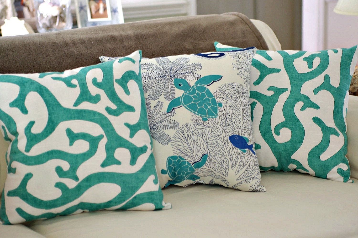 Coastal Home Throw Pillows : Beach House Decor Coral Reef 18x18 Throw Pillow PICK FABRIC