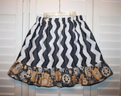 SALE Gray Chevron twirl skirt,  ruffle skirt, girls skirt  . Only size 7 left. Redy to ship..