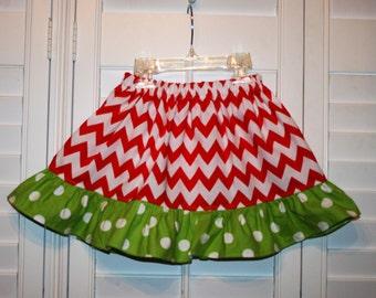 Christmas Skirt Red Chevron &  Green  White  Polka Dot Christmas  ruffle Skirt .  Size 6m -8T.