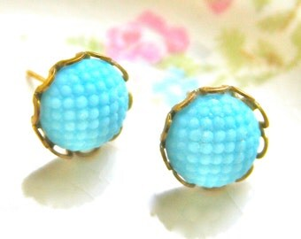Vintage Aqua Blue  Round Hobnail Quilted Scalloped Gold Glass Post Earrings- Brass, Prong,Wedding, Bridal, Beach, Honeymoon