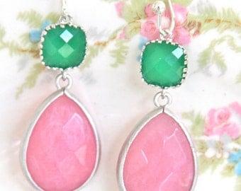 PInk Tear Drop Jade Green Glass Rhinestone Jewel Silver Drop Dangle Earrings - Wedding, Preppy,Rhinestone,Bridal,Bridesmaid