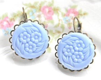 Vintage Periwinkle Blue Round Flower Lever Back Drop Dangle Earrings ~ Scalloped, Antique Brass,Mosaic, Wedding, Bridal, Bridesmaid, Beach