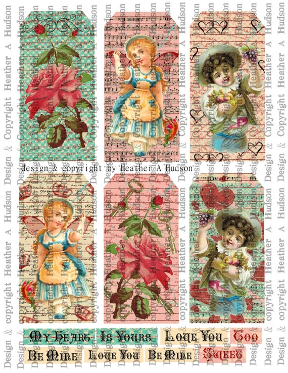 Pink Roses Victorian Boys Girls VintageValentine's Day Valentinel tags Ornament  Digital Collage sheet Printable