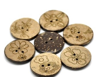 30 pcs Assortment of Coconut Buttons- 30mm (1 1/8 in) - 2 holes