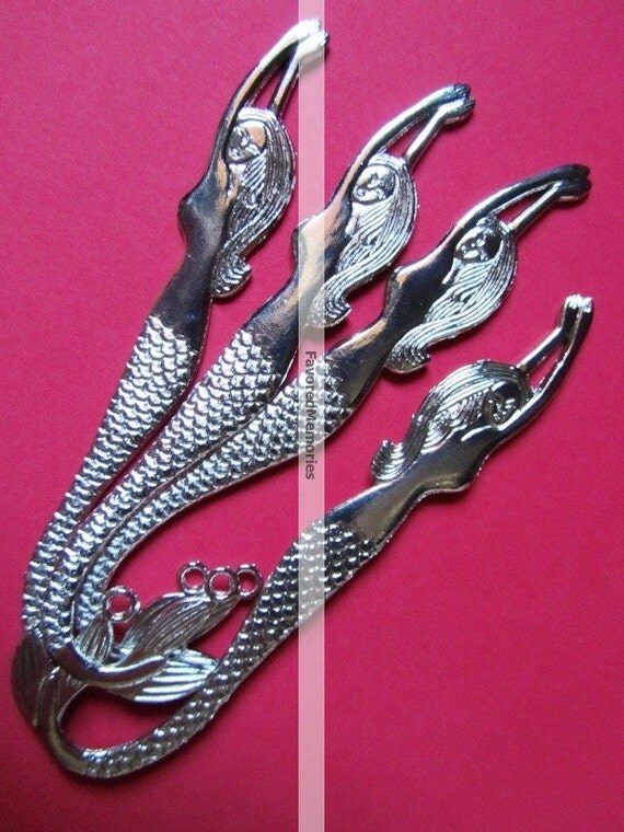 ON SALE 4.8 in - Mermaid Silver Tone Bookmark Hooks 122x33mm- 4  pcs