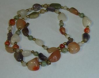 Vintage Lapidary Semi-Precious Stones Hippie Boho Beaded Necklace