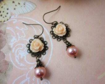Petite peach rose Earrings.