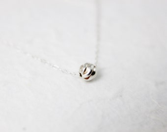 Round Ball Necklace. Tiny Sterling Silver Ball.  Everyday Jewelry by smoketabby.
