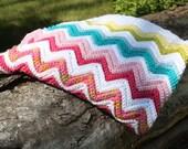 Chevron Zig-Zag Pattern Crochet Afghan Baby Child Toddler Lap Blanket