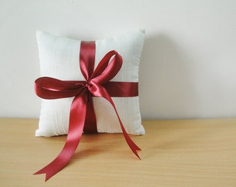 Silk Dupioni Ring Bearer Pillow with Maroon Satin Ribbon