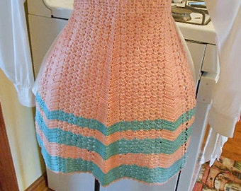 Vintage CORAL & TEAL Crochet SHELL Apron, Retro Boho Stripe Design, Textured Open Work, Tropical Colors, Classic 1950s Kitchen Wear Keepsake
