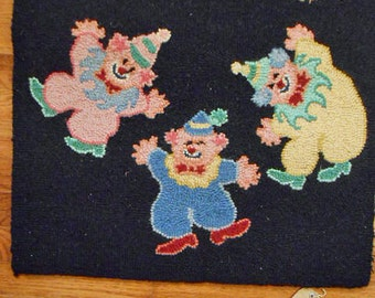 Boho CLOWNS FLOOR RUG, Happy Tumbling Pink Yellow Blue, Red Shoes Hats Black Wool Whimsical Kids Room Decor Unused, Punch Needle 2' x 3'