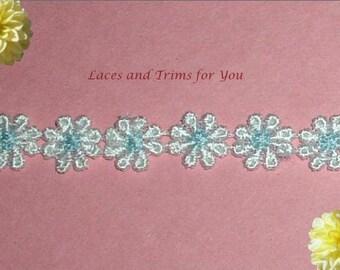 White Blue Lace Trim 3 Yards Venise/Venice Daisy 9/16 inch x 180PC Lot R74