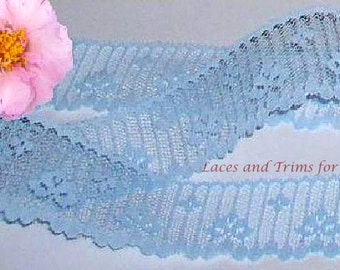 Blue Lace Trim 12/24 Yards Teardrop 1-3/4 inch wide Lot E38 Added Items Ship No Charge