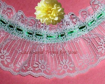 Green White Lace Trim Ruffled 3/6 Yards Candlewick 3-3/4 inch Lot RY07 Added Items Ship No Charge
