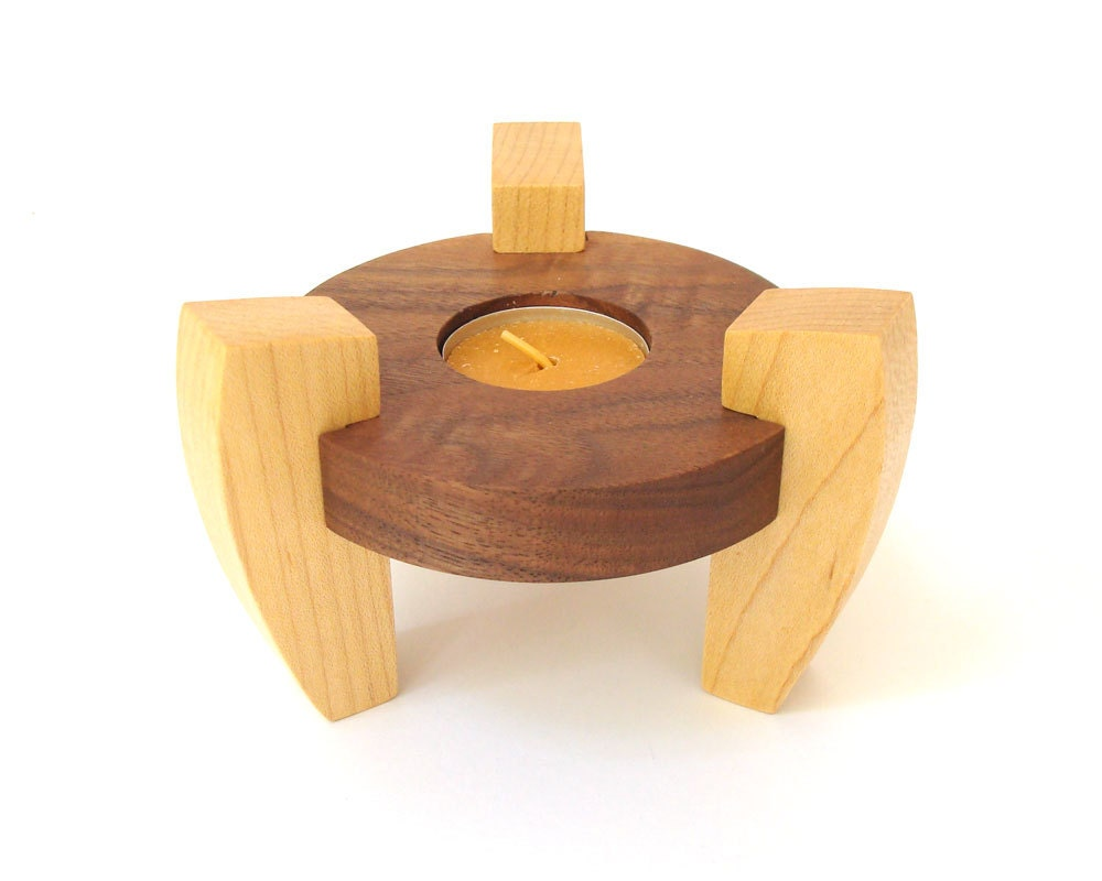 Wood tea light candle holder minimalist modern decor tea Wood candle holders