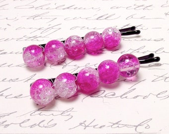 Hot Pink Sparkle Beaded Hair Accessory. Magenta Pink Barrette Clips. Bobby Pin Hair Slides. Wedding or Bridal Party.