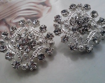 10  Pieces Rhinestone Silver Metal Buttons with Square  Filigree  Settings 19 mm Bridal Embellishment