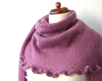 warm knitted shawl, purple wrap with ruffle and beads