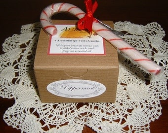 Natural Handmade 100% Beeswax Aromatherapy Candles - Peppermint - set of 4 votives