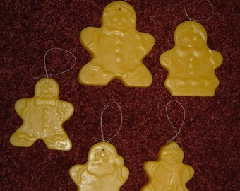 Handmade 100% natural beeswax ornaments, set of 5 gingerbread men