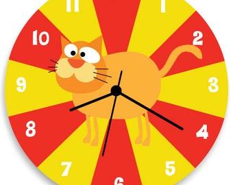 Cat WALL CLOCK for Kids Bedroom Baby Nursery, Nursery Wall Art