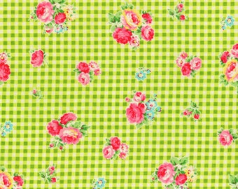 Flower Sugar -  Roses on Gingham in Green from Lecien Fabrics