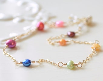 Multicolor Anklet, Bright Freshwater Pearl, Adjustable, Delicate and Fun Rainbow, Sterling Silver or Gold Ankle Bracelet, Free Shipping